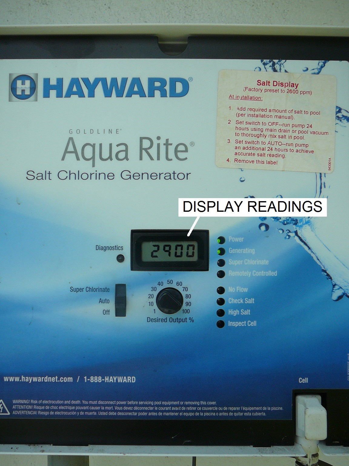 This guide describes the Display Readings on a Hayward Aqua Rite Salt  Chlorine Generator (SCG) and links you to a series of guides that tell you  have to ...