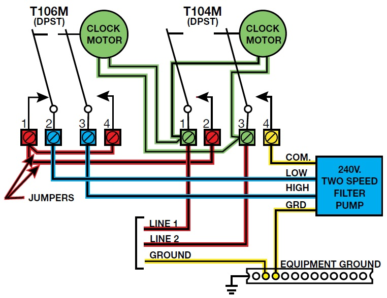 how to install a 2 speed motor and a t106 timer inyopools com rh inyopools com Pool Pump Motor Wiring Diagram Swimming Pool Pump Wiring Diagram