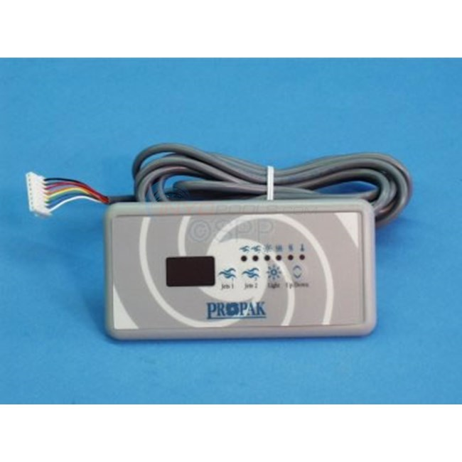 "Spa Side, 5""x 2.5"" Keypad,10ft cable,8 pin in-line plug - 0202-007049"