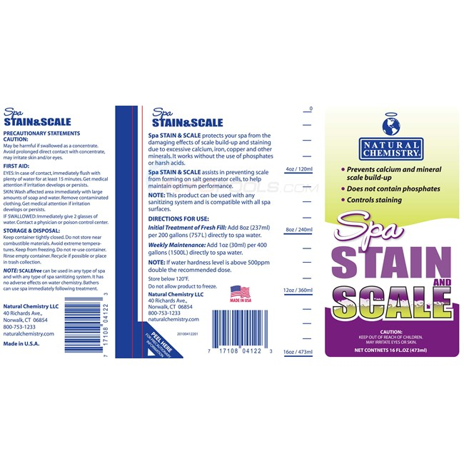 Natural Chemistry SPA STAIN & SCALE FREE 16 Oz - 04122