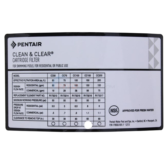 Pentair Clean and Clear Cartridge Filter 150 Sq. Ft. - 160317