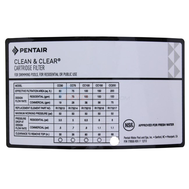 Pentair Clean & Clear Cartridge Filter 200 SQ/ft - 160318