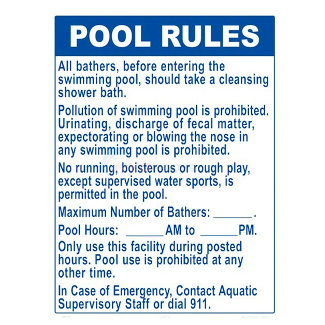 Swimming Pool Sign - Pool Rules - NSSSW2