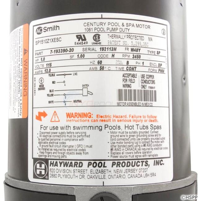Hayward motor 1 hp w switch spx1510z1xe sp1510z1xe for How to replace hayward pool pump motor