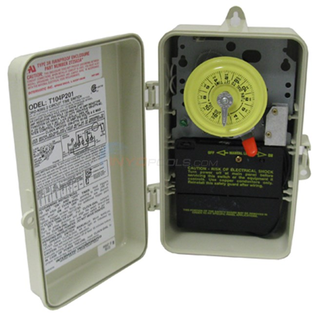 Intermatic Clock, Time Outdoor, 240v W/ Fireman Sw. (t104p201)