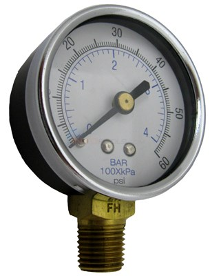 "Generic Bottom Mount Pressure Gauge 0-60 1/4"" NPT"