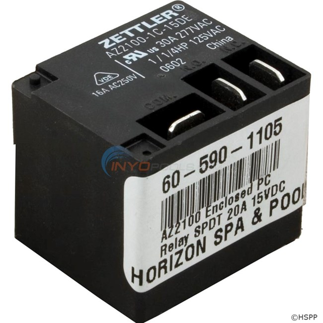 AZ2100 Enclosed PC Relay SPDT 20A 15VDC Coil - 60-590-1105