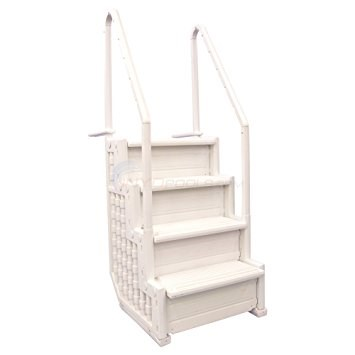 "Antigua Entry Step - White 4 Steps that are 32"" Wide - Fits most 48"" to 54"" Above Ground Pools - AC30163"