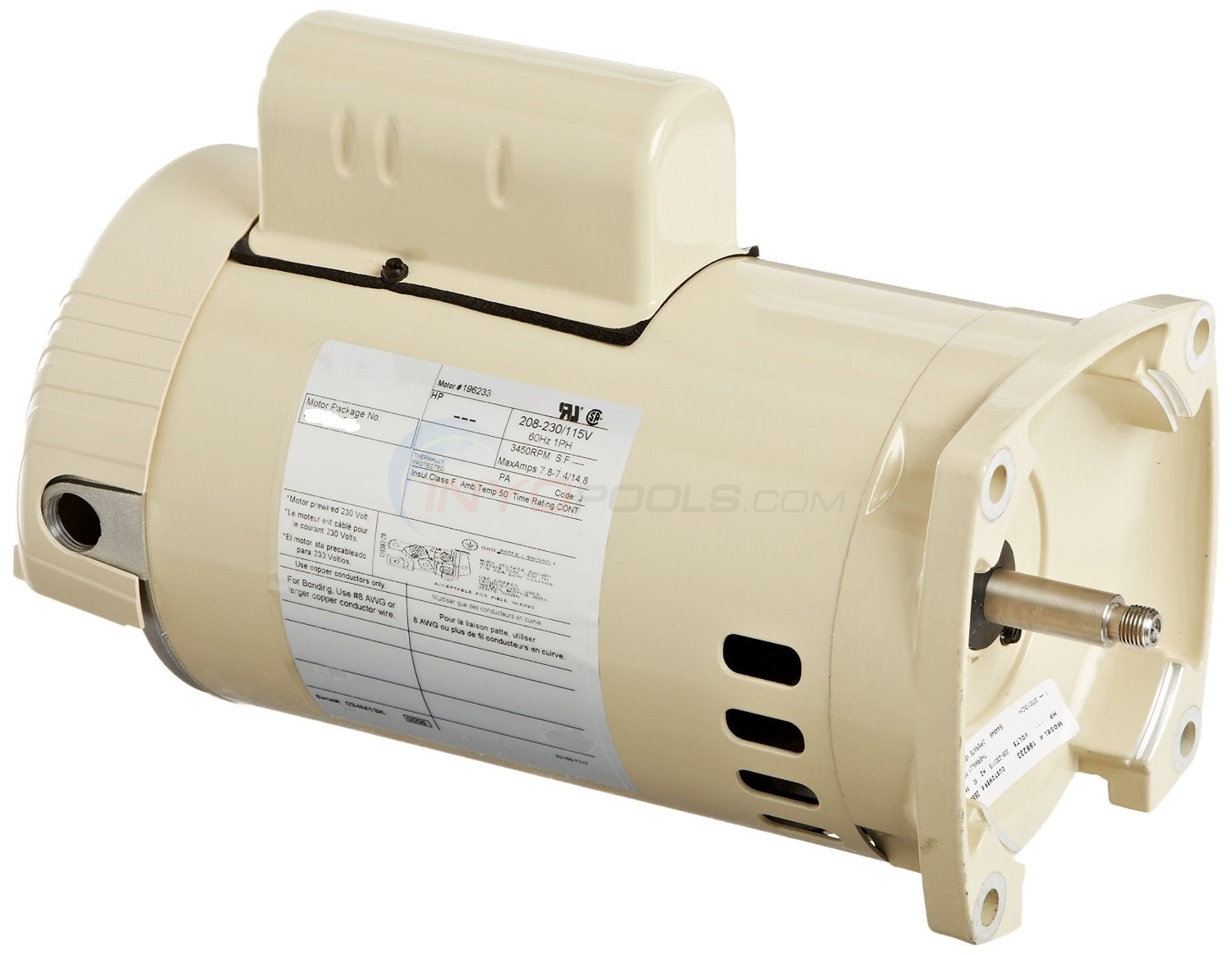 Pentair Replacement Motor 1 HP Full Rate Single Speed Almond - 075234S