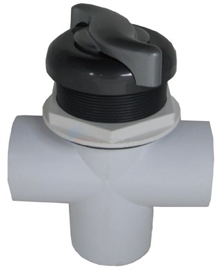 "Diverter Valve, 3 Way, 2"" Slip, S Handle, Graphite Gray/silver"