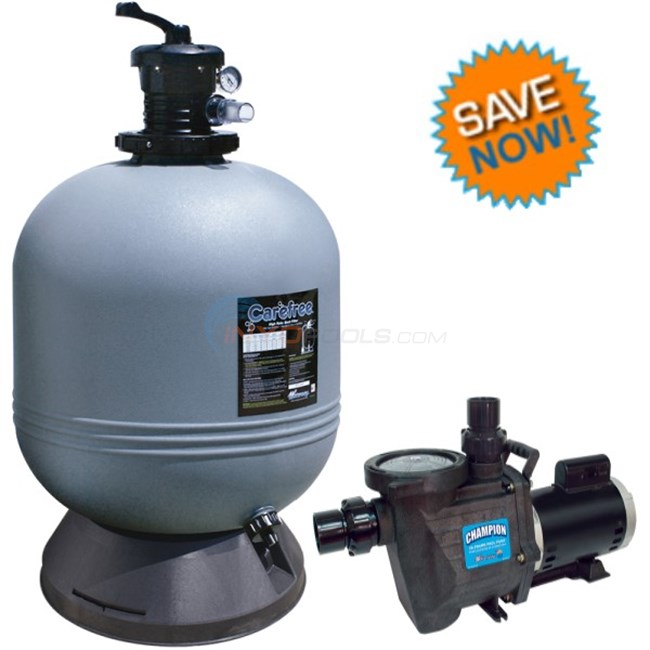 "Waterway Combo Champion 1.5 HP Max Rate Pool Pump And Carefree 22"" Sand Filter - Champ115FS02225"