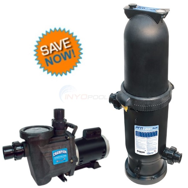 Waterway Combo Champion 1.5 HP Max Rate Pool Pump And ProClean Plus 150 sqft Single Cartridge Filter - Champ115PCCF150