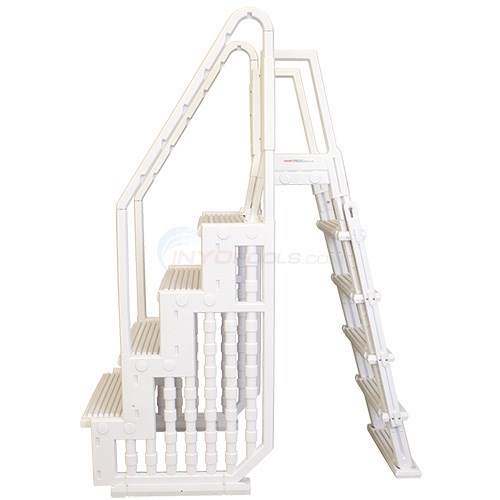 "Cayman Entry Step System - White 4 Steps 32"" Wide With Flip-Up Outside Ladder - ACLDR"
