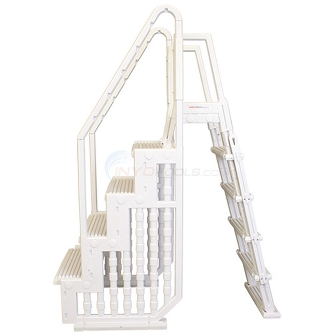 "Entry Step System - White 4 Steps 32"" Wide With Flip-Up Outside Ladder - ACLDR"