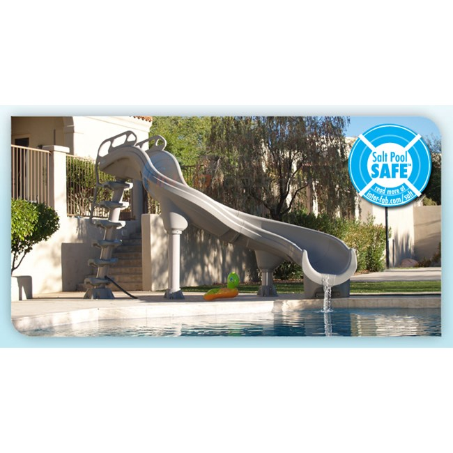 Interfab inter fab adrenaline pool slide left turn adr1 cl for Swimming pool slide replacement parts