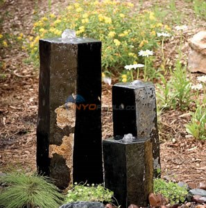 "Aquascape 3 Semi-Polished Stone Basalt Columns - 12""H / 20""H / 27""H - 98264"