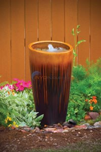 "Aquascape Tan/Black Ceramic Angled Top Urn - 35""H - 98470"