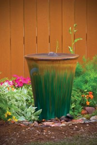 "Aquascape Tan/Green Ceramic V-Shaped Urn - 26""H - 98477"