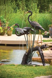 Aquascape Two Large Herons on a Log Spitter (49x43x74) - 98523