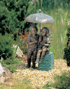 Aquascape Sitting Boy and Girl with Umbrella Fountain on Square Base - 98530