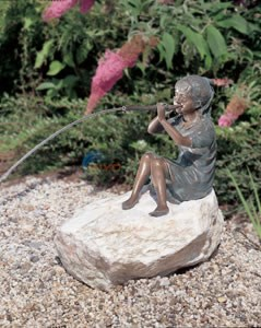 Aquascape Girl Sitting With Flute Spitter - 98537