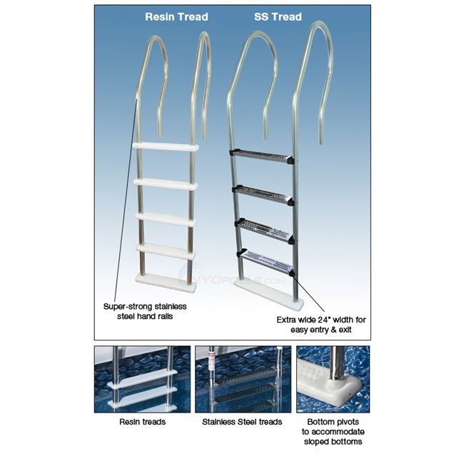 Blue Wave Stainless Steel Tread Reverse Bend In-Pool Ladder