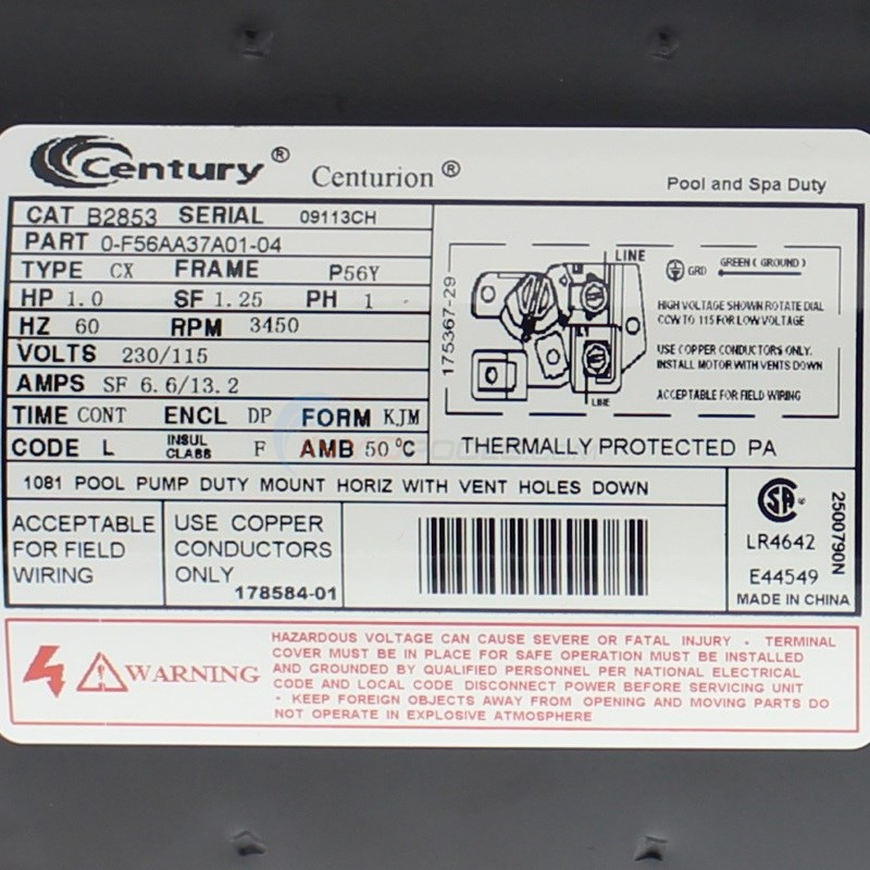 century b2853 1?format=jpg&scale=both&anchor=middlecenter&autorotate=true&mode=pad&width=650&height=650 magnetek a o smith 1 hp, 56y frame, up rate motor (b2853 century ac motor wiring diagram 230 volts at sewacar.co