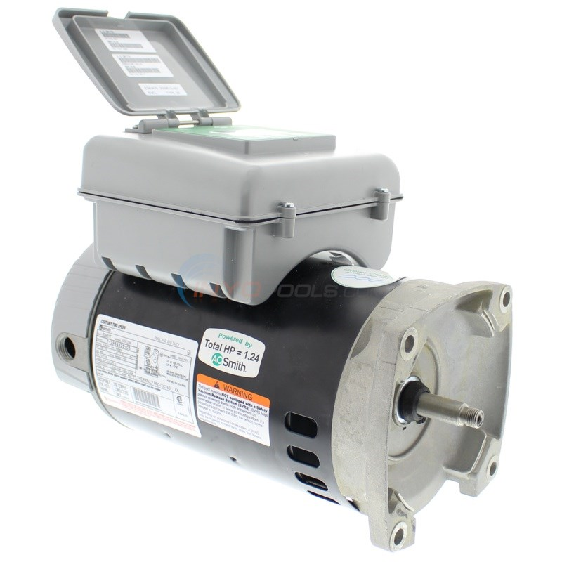 Pool Motor Square Flange 3/4 HP 115V Full Rate Dual Speed w/ Digital Controller