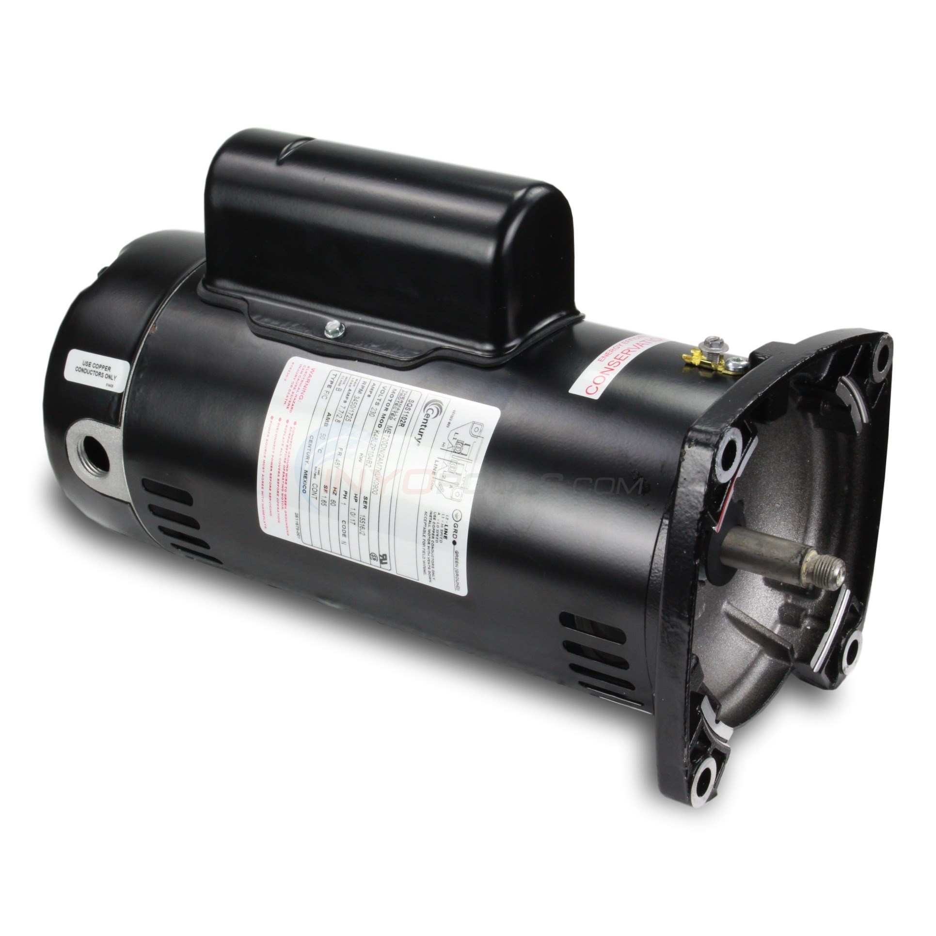 A.O. Smith 1 H.P Square Flange Dual Speed Full Rate Motor - SQS1102R