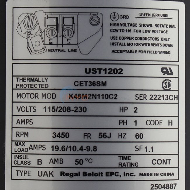 A.O. Smith 2 HP Round Flange 56J Up Rate Motor - UST1202