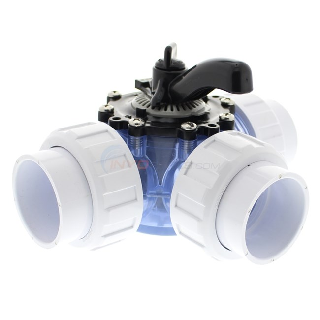 "Custom Molded Products 3-Way Valve with Unions, 2"" Inside Clear CPVC - 25923-209-000"