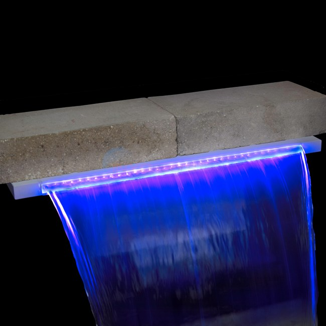 "48"" LED Pool Waterfall Color Changing w/ 6"" lip - White - PL9846"