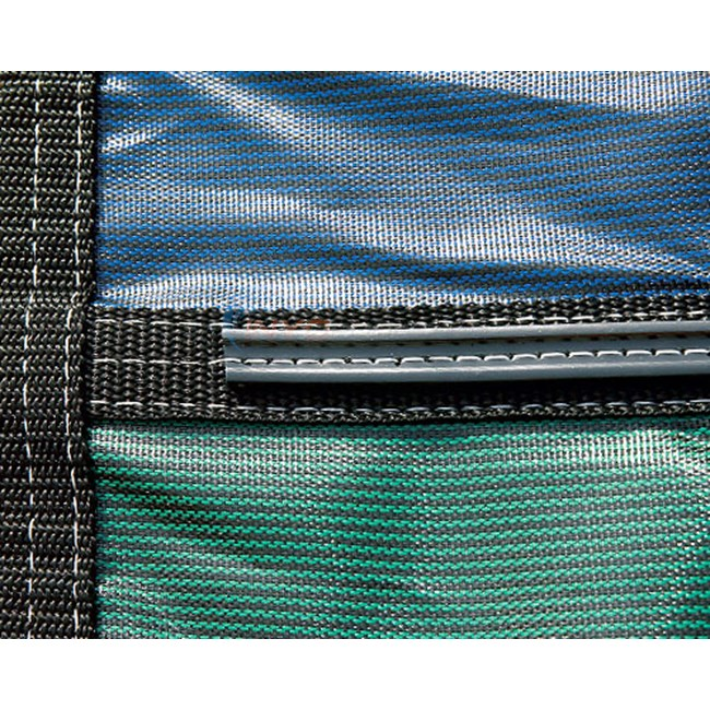18' x 36' Rectangular w/ 4' x 8' Left Step Green Mesh Safety Cover 18 Year (2 Years Full) - 20-2040RE-LHSF48-SAP-GR