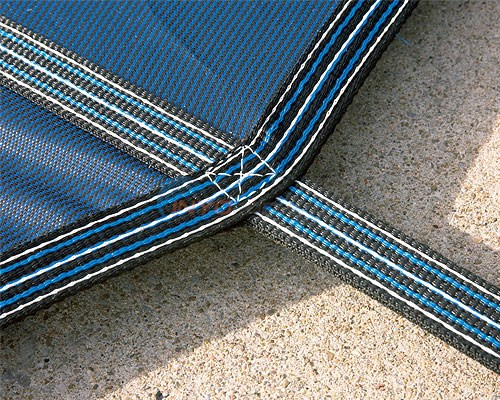12' x 24' Rectangular w/ 4' x 8' Left Step Green Mesh Safety Cover 18 Year (2 Years Full) - DG122458LSF