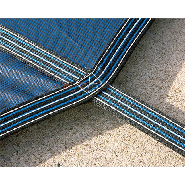 15' x 30' Rectangular w/ 4' x 8' Left Step Green Mesh Safety Cover 18 Year (2 Years Full) - DG153058LSF