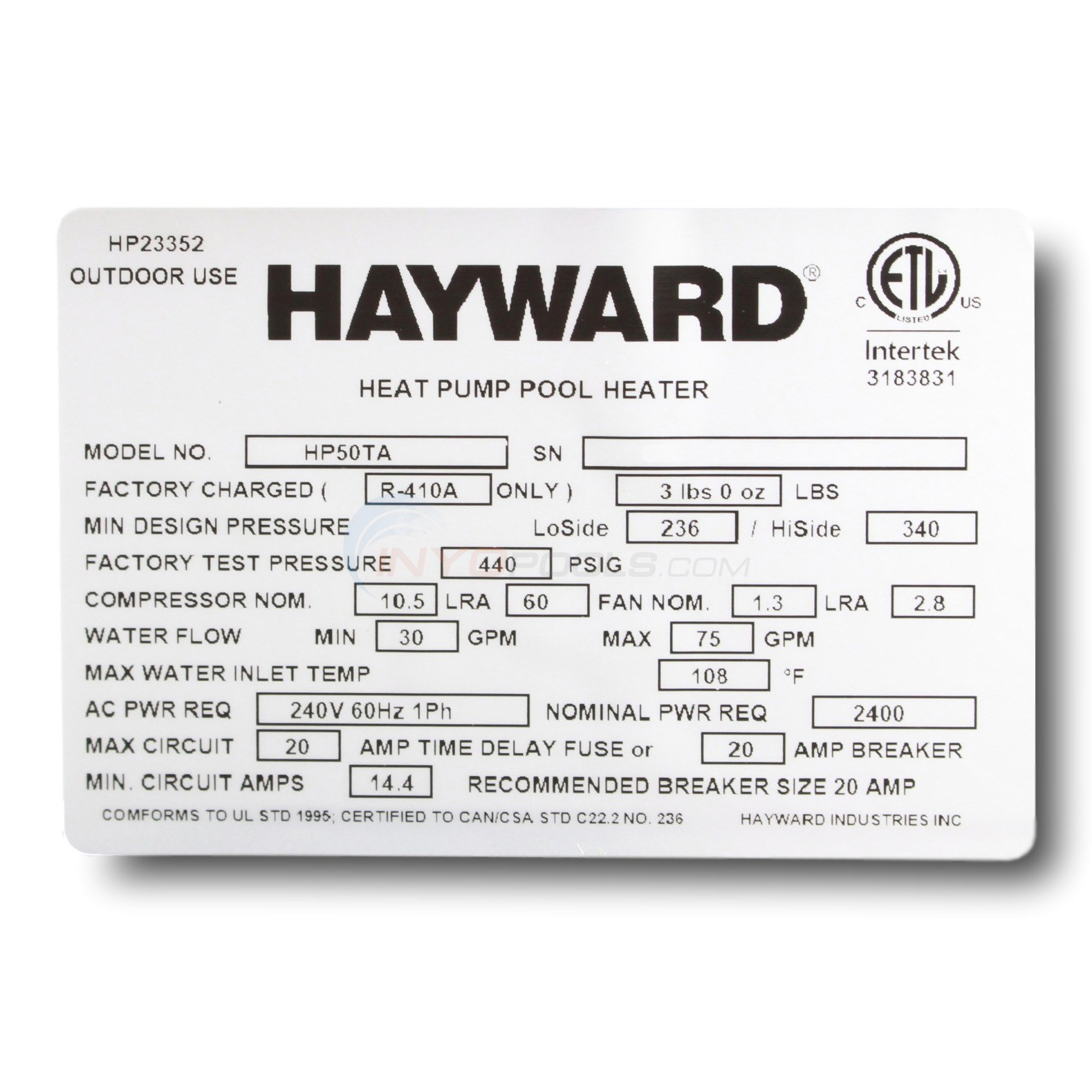 Hayward Heat Pro Heat Pump 110,000 BTU - HP21104T