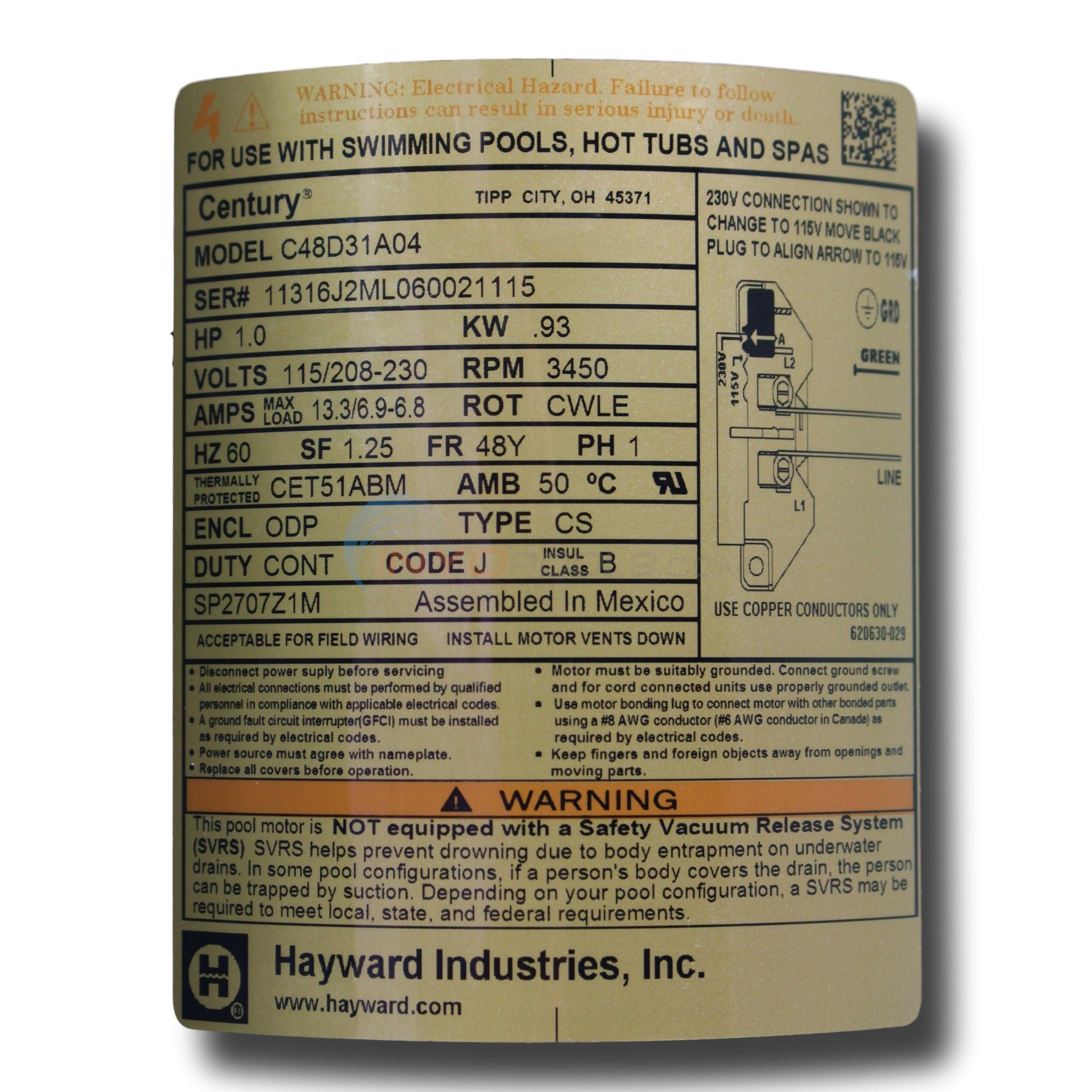 hayward motor label