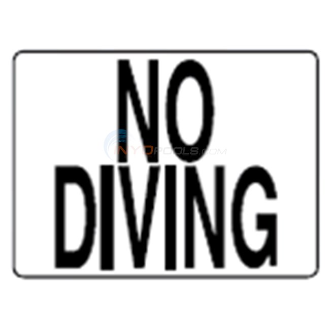 "Inlays Depth Marker-Plastic Stickon 4.25"" x5.75"" Smooth No Diving Words - P411501"