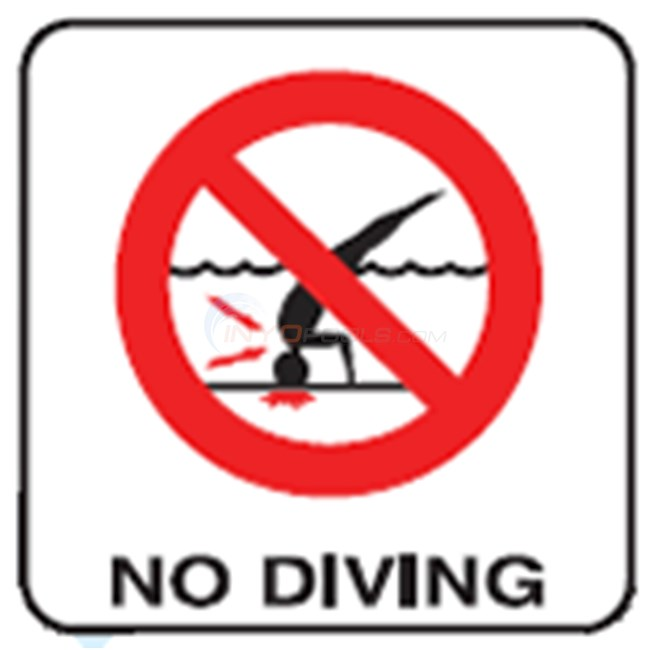 "Inlays Depth Marker-Vinyl 8"" Skid Resistant No Diving w/ Int'l Symbol (Red)-8"" Length - V821500"