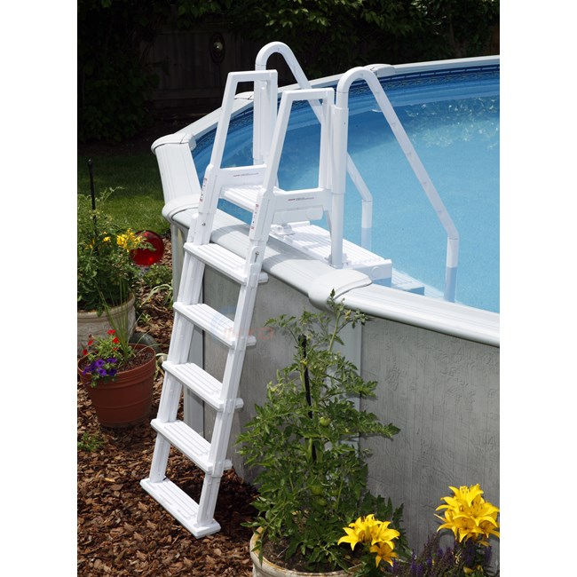 Blue wave easy pool step w outside ladder ne126 - Above ground pool steps for handicap ...