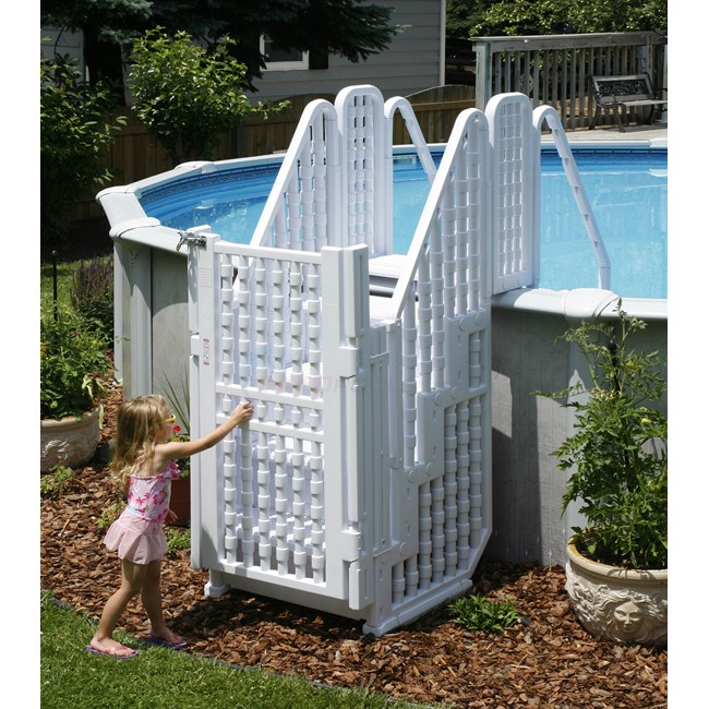 Blue wave easy pool step entry system w gate ne138 - Above ground pool steps wood ...