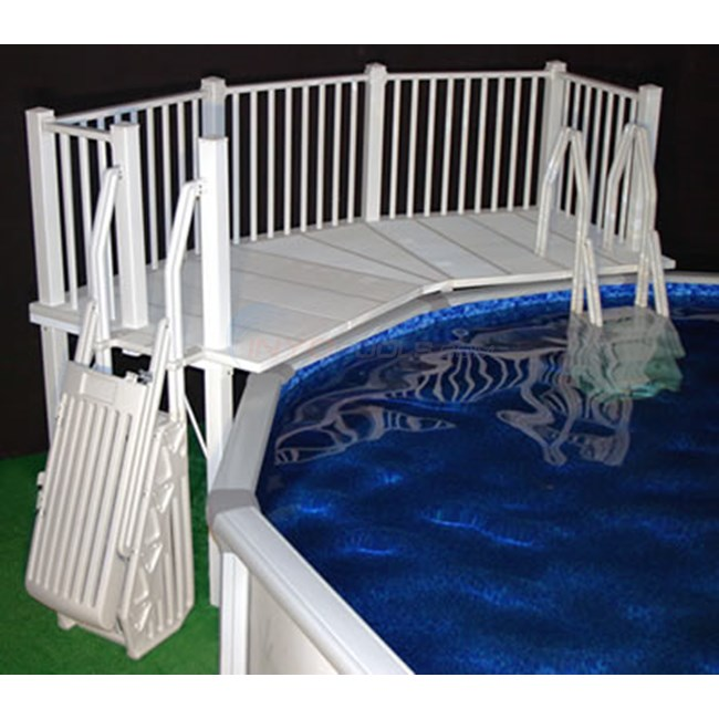 5 39 x13 39 above ground pool deck system w ladders white ne144 - Above ground pool steps for handicap ...