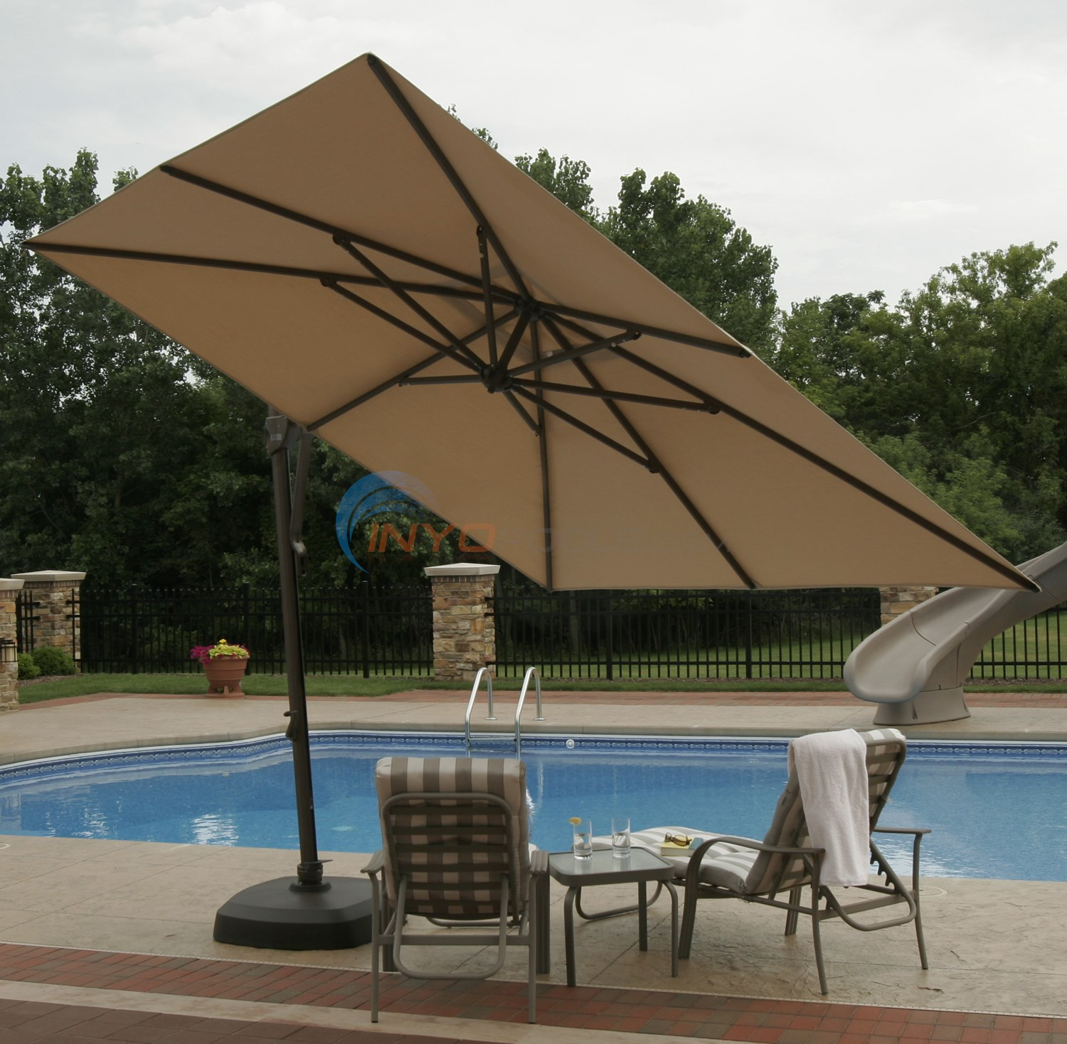 Blue Wave Santorini Cantilever Umbrella Stone Olefin - NU5020