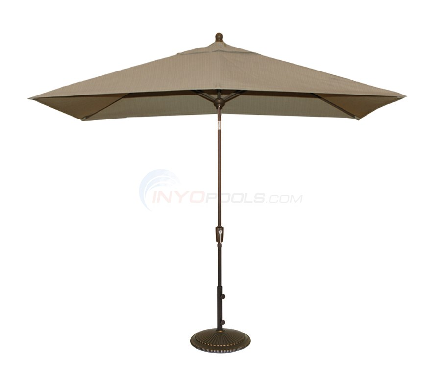 Blue Wave Adriatic 6.5x10' Rectangle Autotilt Market Umbrella - Champagne Linen Olefin - NU5433CH