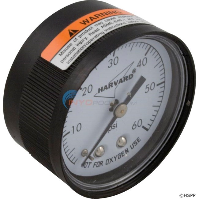 "Back Mount Pressure Gauge 0-60 1/4"" NPT"