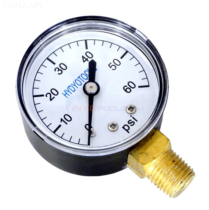 "PRESSURE GAUGE, BOTTOM MOUNT 0-60 PSI 1/4"" MPT"