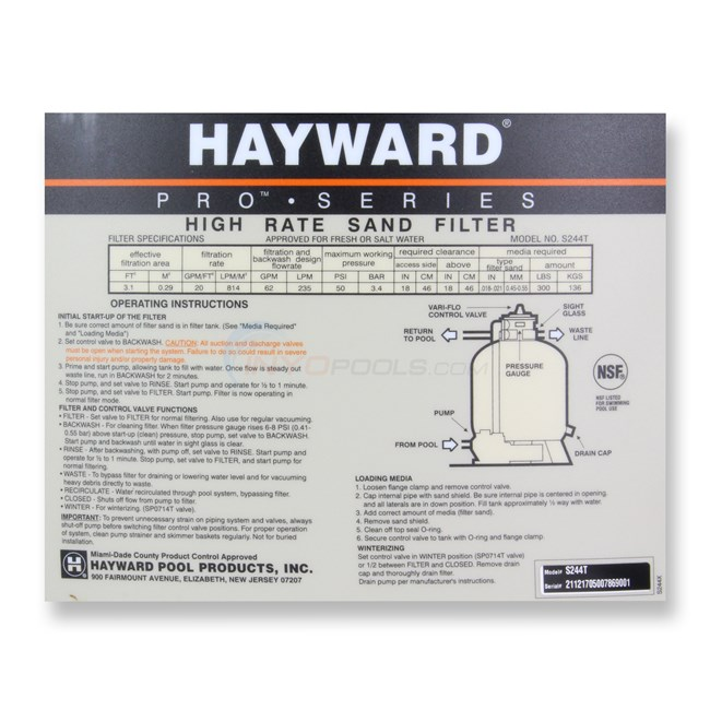 Hayward Sand Filter with Top Mount Valve 24 Inch Tank - S244T