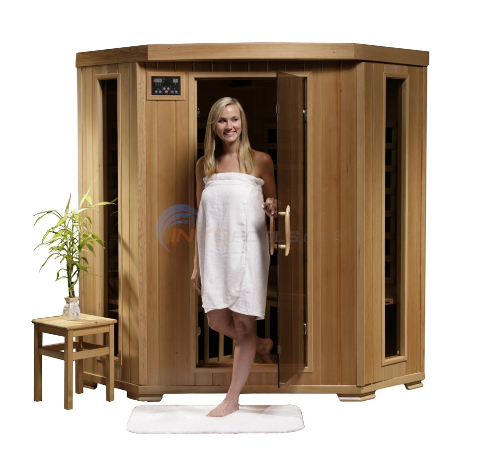 Blue Wave SANTA FE - 3 Person Infrared Sauna with Carbon Heaters - Corner Unit - SA2412DX