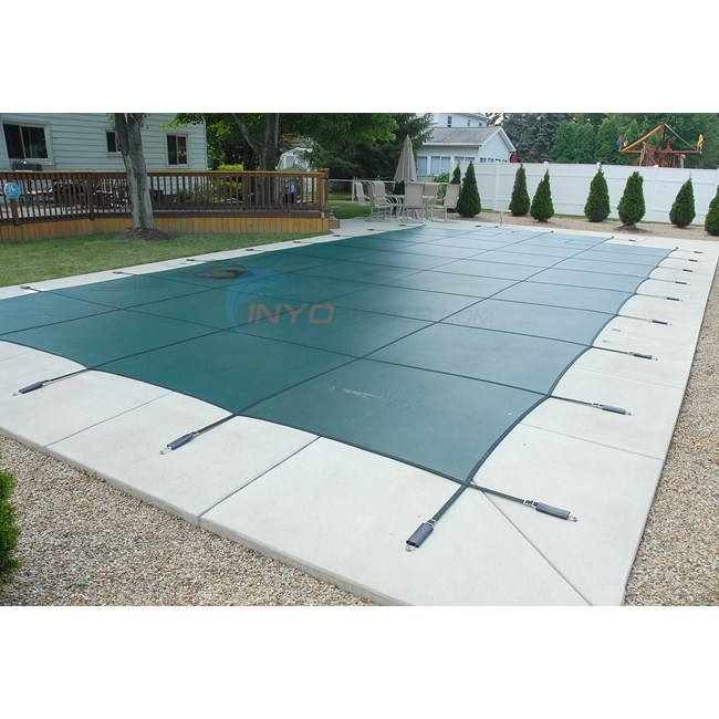 16' x 32' Rectangular w/ 4' x 8' Left Step Green Mesh Safety Cover 18 Year (2 Years Full) - 1632RE-LSF48-SAP-GRN