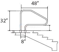 Blue Wave Salt Resistant In-Ground Step Handrail (white) - NE1234
